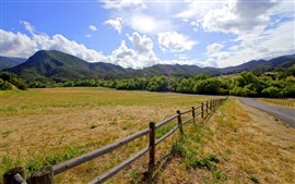 Mountains, road, fence, grass, meadow
