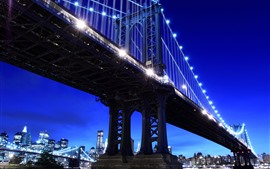 New York, night, lights, river, bridge, USA