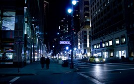 New York, night, street, cars, lights, USA