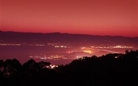 Noite, cidade, luzes, mar, vista superior, são francisco, eua