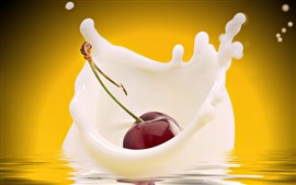 Preview wallpaper One cherry fall in milk, splash