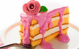 Preview wallpaper One slice cake, rose, cream