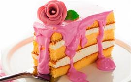 Vorschau des Hintergrundbilder Ein Stück Kuchen, Rose, Sahne