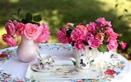 Preview wallpaper Pink roses, tea, cup, kettle