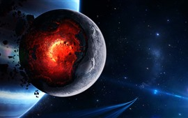 Preview wallpaper Planet explosion, core, stars, spaceship