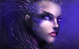 Preview wallpaper Purple eyes fantasy girl, face, hair