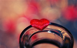 壁紙のプレビュー 赤い愛の心、ガラスのコップ
