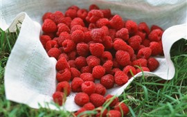Preview wallpaper Red raspberries, grass, cloth