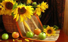Sunflowers, basket, apples