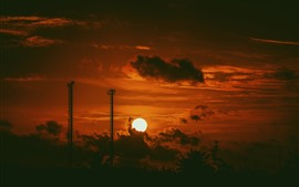 Preview wallpaper Sunset, clouds, sky, darkness, silhouette