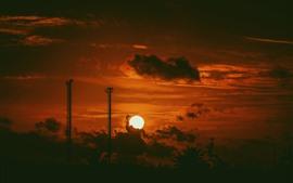 Закат, облака, небо, тьма, силуэт