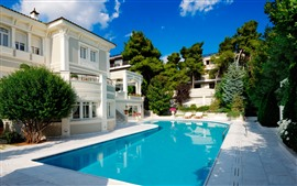 Swim pool, villa, trees, summer