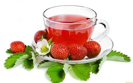 Tea, cup, strawberries, flowers