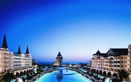Turquia, ponte, lagoa, hotel, noite, luzes