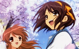 Preview wallpaper Two happy anime girls, sakura bloom