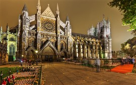 Preview wallpaper Westminster Abbey, night, city, London