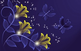 Preview wallpaper Abstract yellow flowers, butterfly, creative design