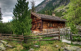 Áustria, casa de madeira, cerca, Alpes