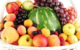 Preview wallpaper Basket, fruit, apples, peaches, grapes, watermelon, raspberries