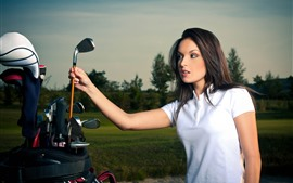 Preview wallpaper Beautiful girl and golf stick