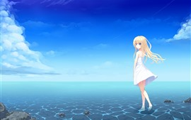 预览壁纸 金发碧眼的动漫女孩,蓝眼睛,裙子,海,夏天