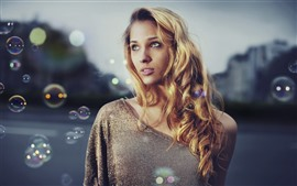 Blonde girl, look, bubbles