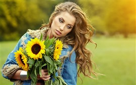 Preview wallpaper Blonde girl, sunflowers, hazy