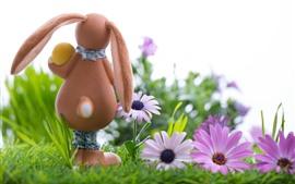 壁紙のプレビュー バニー、ピンクの花、卵、イースター、草