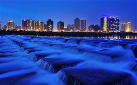 City, night, waterfalls, fountain, buildings, lights