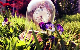 Preview wallpaper Clock, glass, pansies