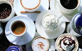 Preview wallpaper Coffee, cups, saucers, cream, cappuccino