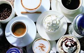 Vorschau des Hintergrundbilder Kaffee, Tassen, Untertassen, Sahne, Cappuccino