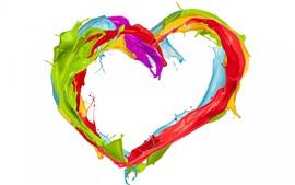 Pintura colorida, coração de amor, splash, fundo branco