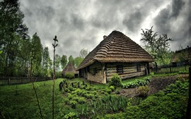 Preview wallpaper Countryside, hut, garden, trees, clouds