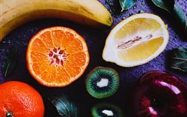Preview wallpaper Cut fruit, kiwi, lemon, orange, banana, apple