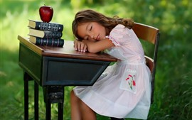 Preview wallpaper Cute child girl sleep, table, books, apple