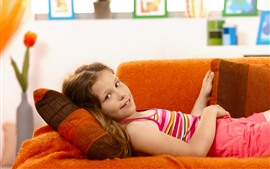 Cute little girl, rest, sofa