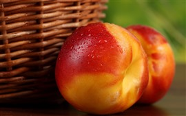 Preview wallpaper Delicious nectarine, peach, water droplets