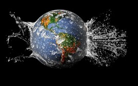 Earth, water splash, black background