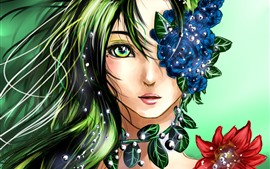 Preview wallpaper Fantasy girl, green hair, flowers