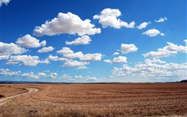 Preview wallpaper Fields, blue sky, white clouds