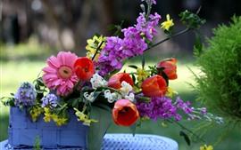 Цветы, герберы, розовые цветы, тюльпаны, корзина
