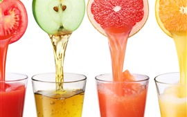 Four cups juice, colorful, orange, apple, tomato