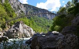 Preview wallpaper France, Gorges du Verdon, bridge, river, rocks