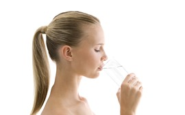 Preview wallpaper Girl drink water, white background