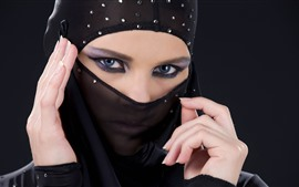 Preview wallpaper Girl, face, eyes, veil