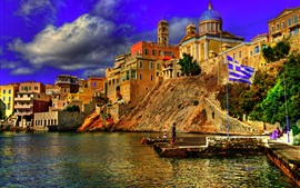 Preview wallpaper Greece, city, river, pier, flag, houses