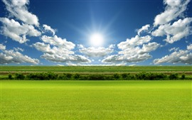 Preview wallpaper Green fields, blue sky, clouds, sun