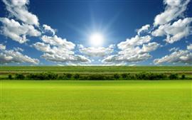 Vorschau des Hintergrundbilder Grüne Felder, blauer Himmel, Wolken, Sonne