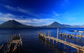 Guatemala, island, mountains, sea, dock